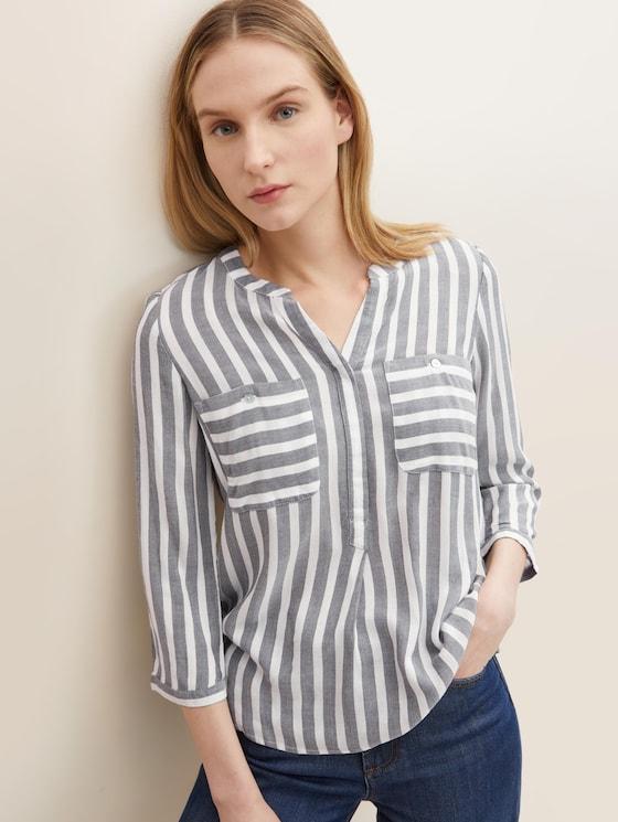 Gestreifte Bluse mit Taschen - Frauen - offwhite navy vertical stripe - 5 - TOM TAILOR