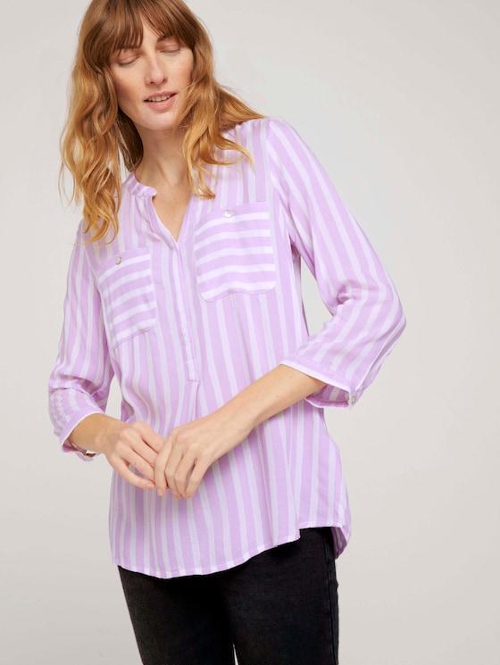 Gestreifte Bluse mit Taschen - Frauen - lilac white vertical stripe - 5 - TOM TAILOR