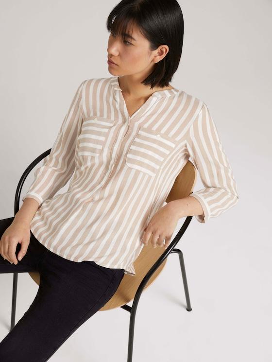 Gestreifte Bluse mit Taschen - Frauen - beige offwhite stripe - 5 - TOM TAILOR