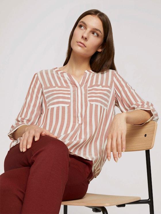 Gestreifte Bluse mit Taschen - Frauen - maroon red offwhite stripe - 5 - TOM TAILOR