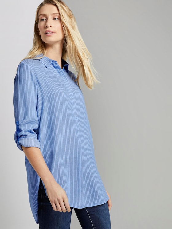 Basic Longbluse - Frauen - blue white vertical stripe - 5 - TOM TAILOR