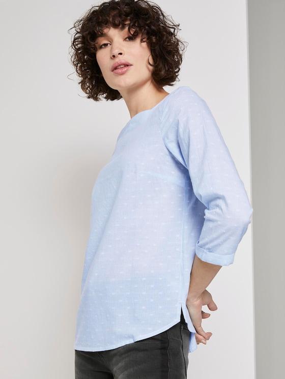 Gestreifte Bluse mit Struktur - Frauen - blue dobby stripe - 5 - TOM TAILOR