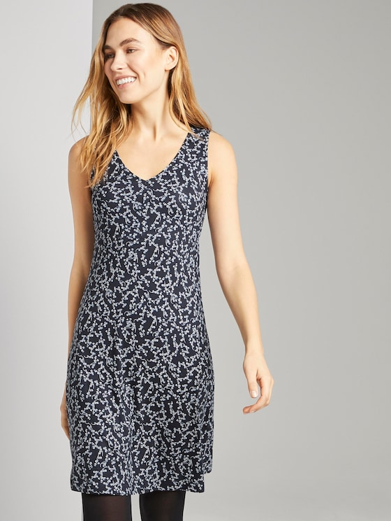 Gemustertes Kleid mit V-Ausschnitt - Frauen - navy flowery design - 5 - TOM TAILOR
