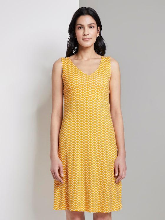Gemustertes Kleid mit V-Ausschnitt (gelb) - von TOM TAILOR