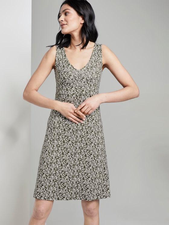 Gemustertes Kleid mit V-Ausschnitt - Frauen - khaki offwhite floral design - 5 - TOM TAILOR