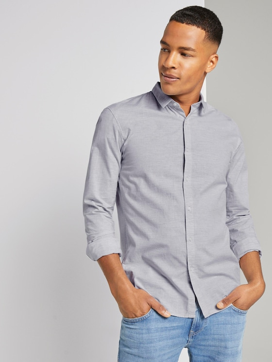 Mélange shirt - Men - Morning Grey - 5 - TOM TAILOR Denim