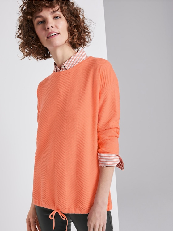 Pullover mit Strukturmuster - Frauen - Fusion Coral - 5 - TOM TAILOR