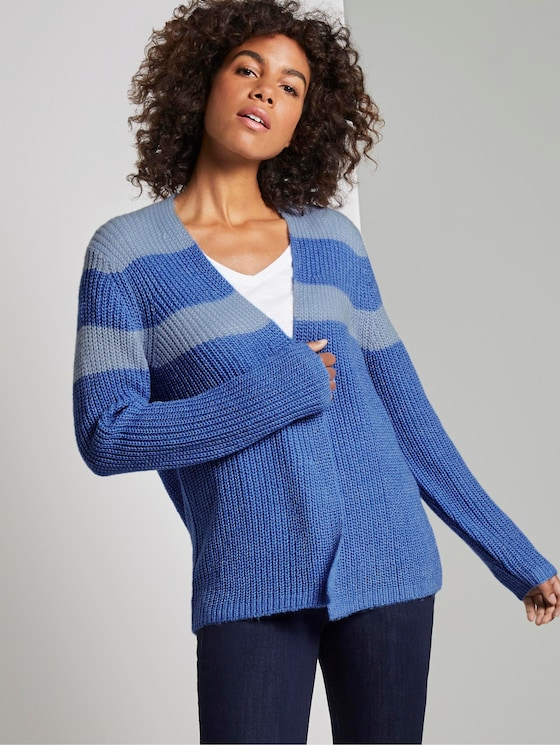 Cardigan in Ripp-Optik - Frauen - sicilian blue melange - 5 - TOM TAILOR