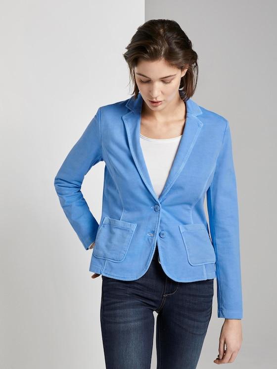 Sweat-Blazer mit Farbwaschung - Frauen - sea blue - 5 - TOM TAILOR