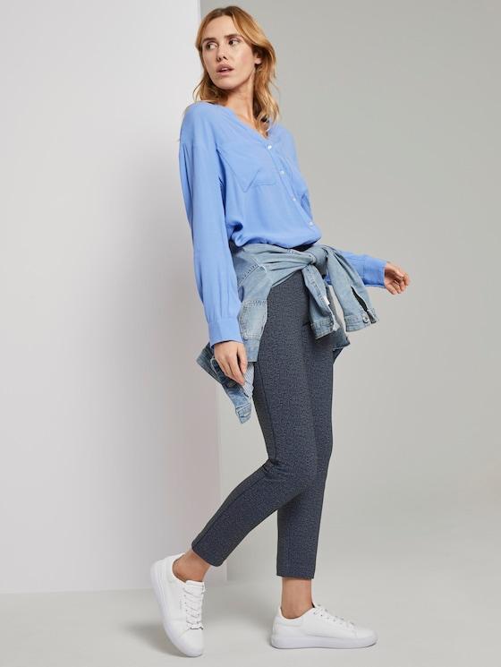 Mia Slim Ankle Hose - Frauen - navy structured pattern - 3 - TOM TAILOR