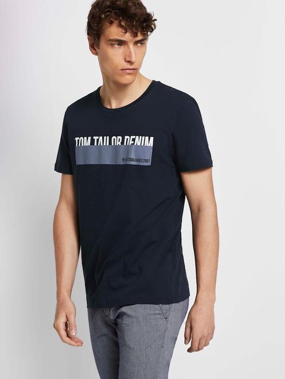 T-shirt met print - Mannen - Sky Captain Blue - 5 - TOM TAILOR Denim