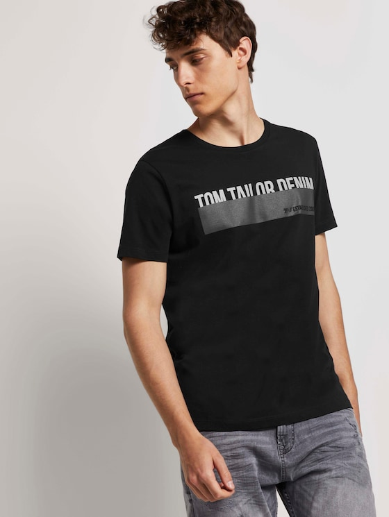 T-Shirt mit Print - Männer - deep black - 5 - TOM TAILOR Denim