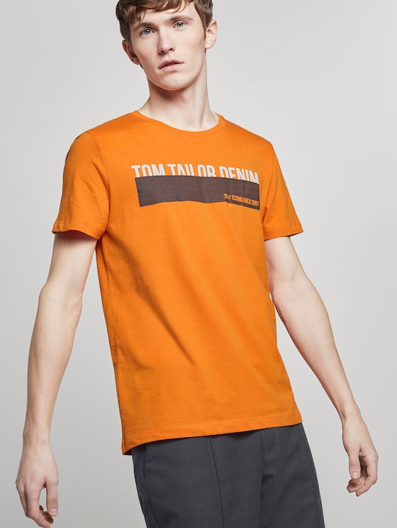 T-Shirt mit Print - Männer - perfect orange - 5 - TOM TAILOR Denim