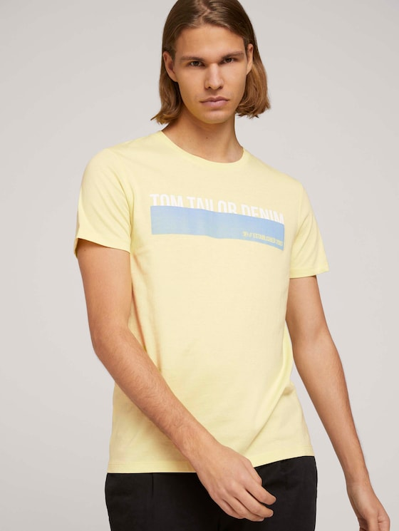 T-Shirt mit Print - Männer - cream yellow - 5 - TOM TAILOR Denim