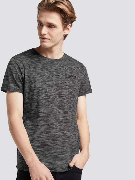T-Shirt mit schlichtem Print - Männer - Black Non-Solid - 5 - TOM TAILOR Denim
