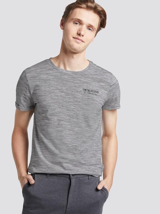 T-Shirt mit schlichtem Print - Männer - white new space dye - 5 - TOM TAILOR Denim