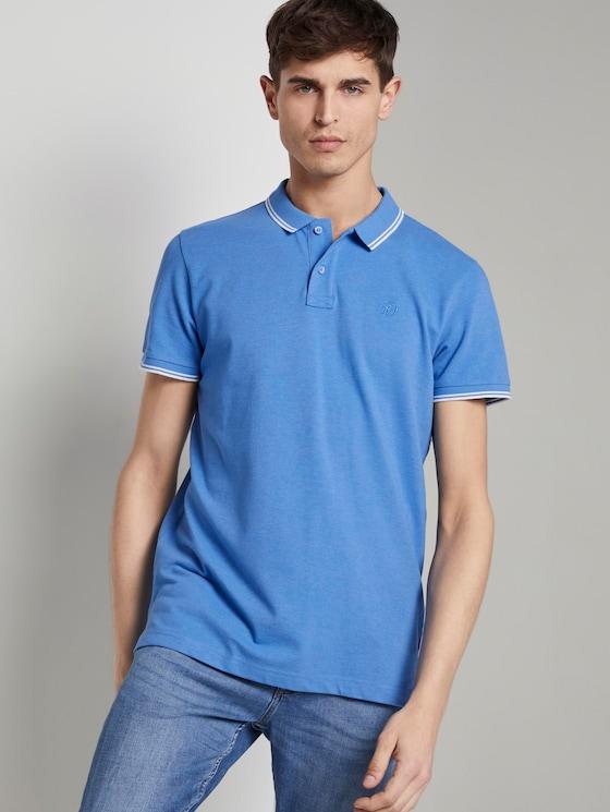 Polo hemd met textuur - Mannen - water sport blue - 5 - TOM TAILOR Denim