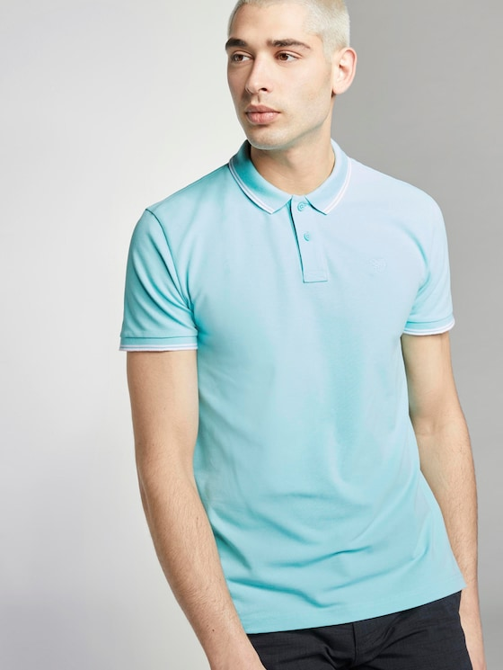 Polo hemd met textuur - Mannen - soft blue sky - 5 - TOM TAILOR Denim
