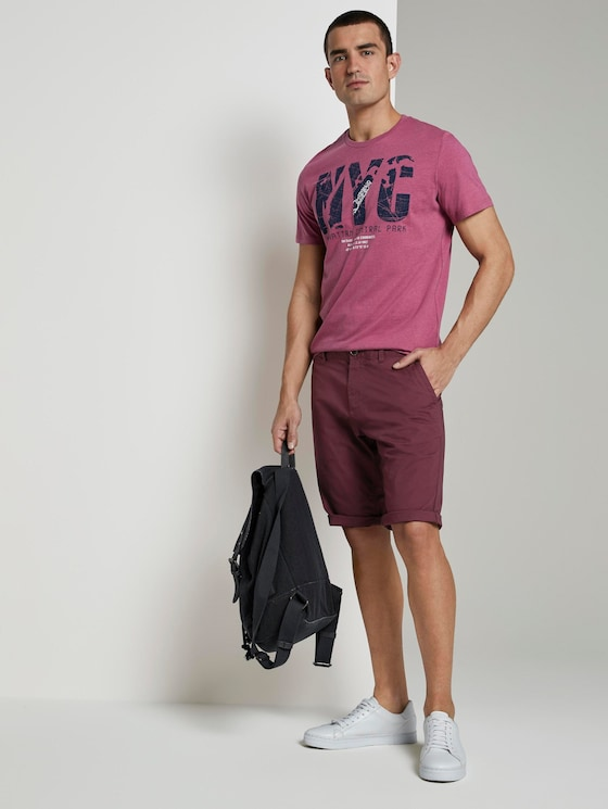Josh Regular Slim Chino-Shorts - Männer - bordeaux red - 3 - TOM TAILOR