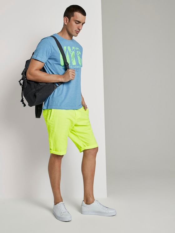Josh Regular Slim Chino-Shorts - Männer - bright neon yellow - 3 - TOM TAILOR