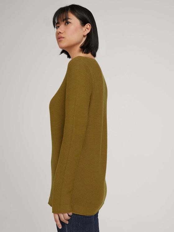 Strickpullover mit Bio-Baumwolle - Frauen - khaki olive - 5 - TOM TAILOR