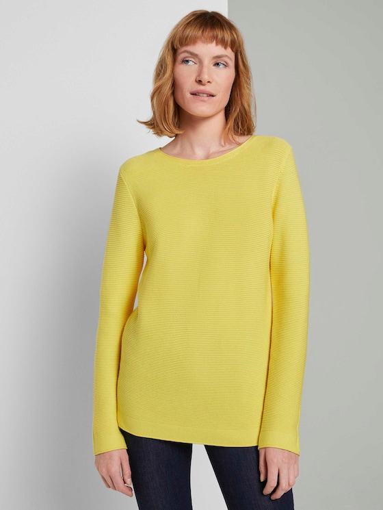 Strickpullover mit Rundhalsausschnitt - Frauen - smooth yellow - 5 - TOM TAILOR