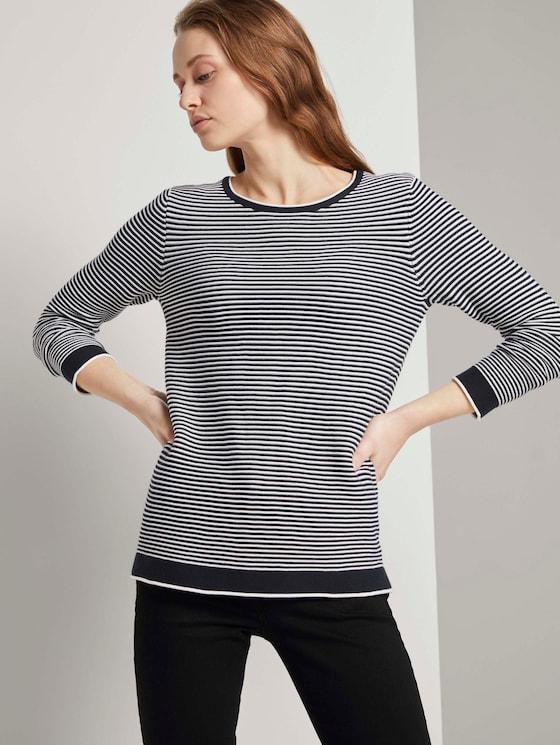 Strickpullover mit Rundhalsausschnitt - Frauen - navy white horizontal stripe - 5 - TOM TAILOR