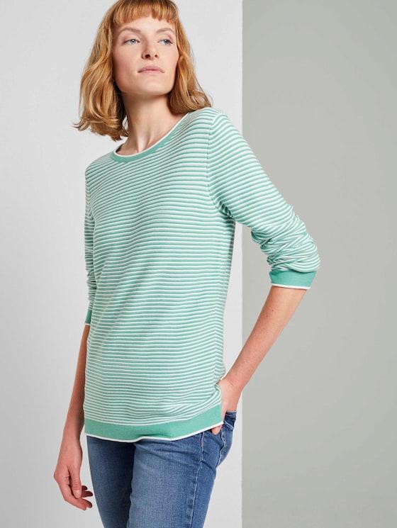 Strickpullover mit Rundhalsausschnitt - Frauen - green white horizontal stripe - 5 - TOM TAILOR