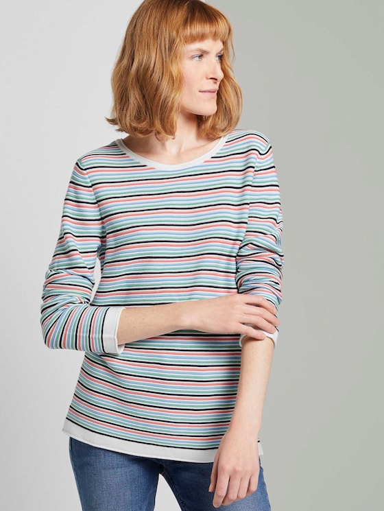 Strickpullover mit Rundhalsausschnitt - Frauen - peach multicolor stripe - 5 - TOM TAILOR