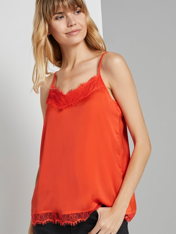 Camisole top with lace detail - Women - signal red - 5 - TOM TAILOR Denim