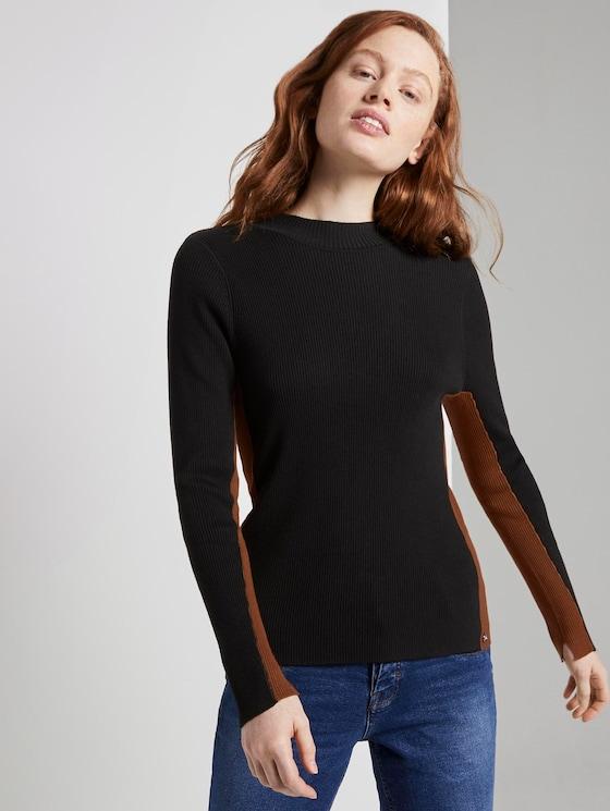 Lange mouwen shirt met geribde structuur - Vrouwen - Deep Black - 5 - TOM TAILOR Denim