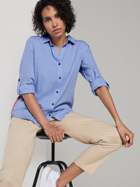 Blouse with contrast tape - Women - sicilian blue - 5 - Mine to five