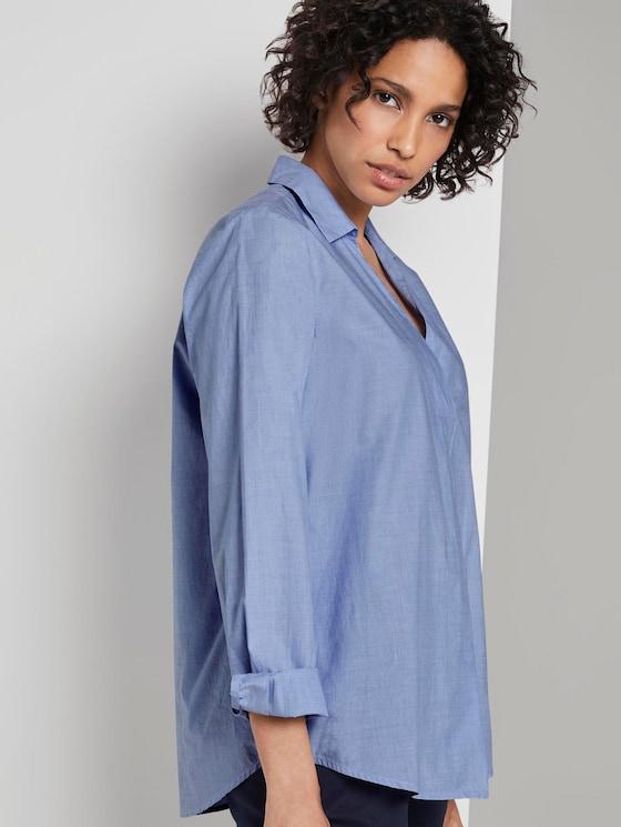Plain tunic blouse - Women - Light Blue Chambray - 5 - Mine to five