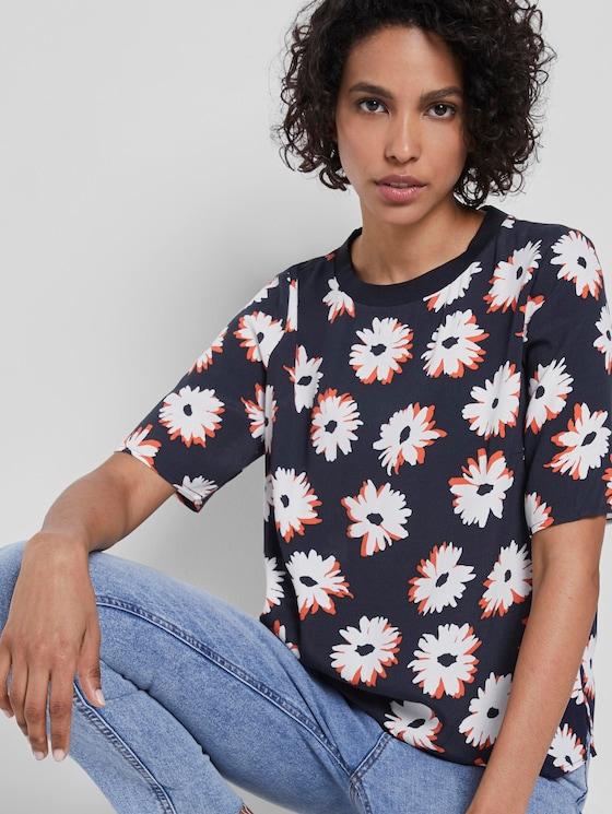 T-Shirt mit Blumenmuster - Frauen - navy floral design - 5 - Mine to five