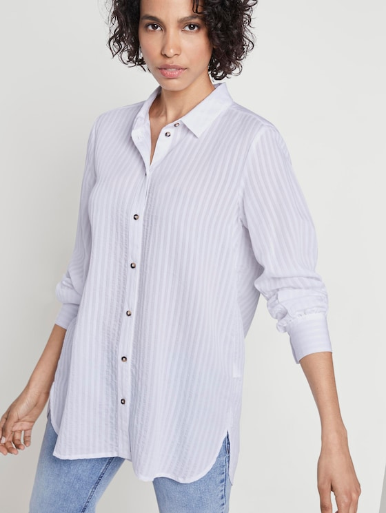 Textured blouse with a shirt collar - Women - White - 5 - Mine to five
