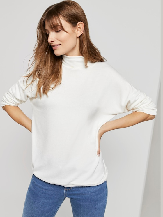 Langarmshirt mit Turtle-Neck - Frauen - Off White - 5 - TOM TAILOR Denim