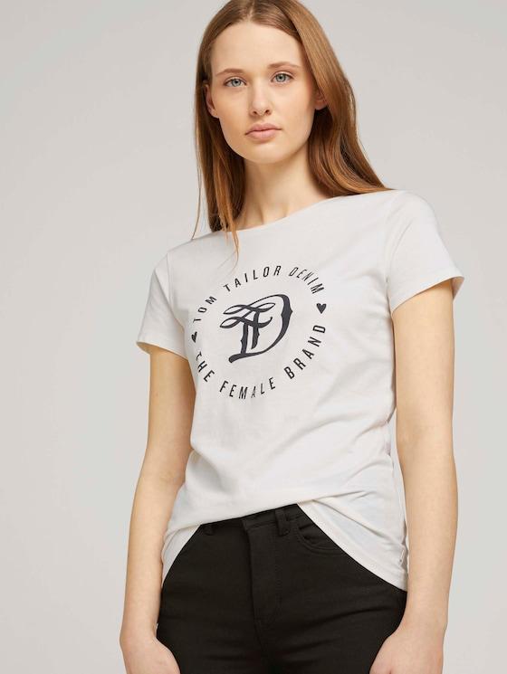 Jersey T-Shirt aus Bio-Baumwolle - Frauen - Gardenia White - 5 - TOM TAILOR Denim