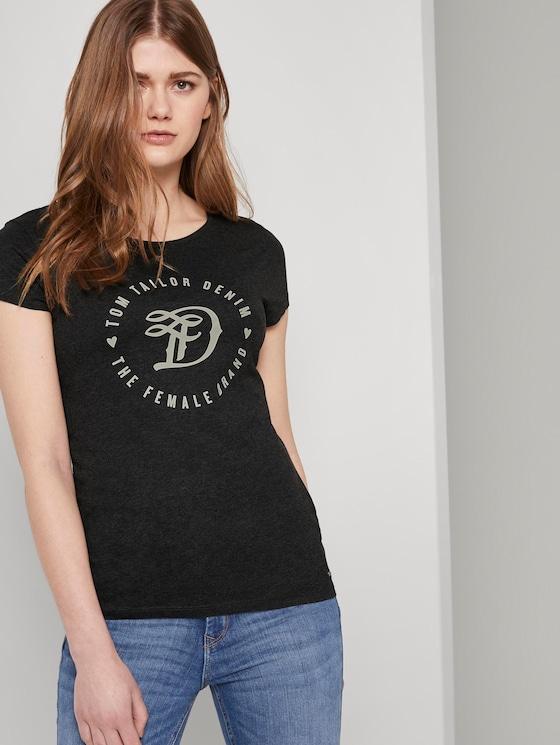 Jersey T-Shirt aus Bio-Baumwolle - Frauen - Shale Grey Melange - 5 - TOM TAILOR Denim