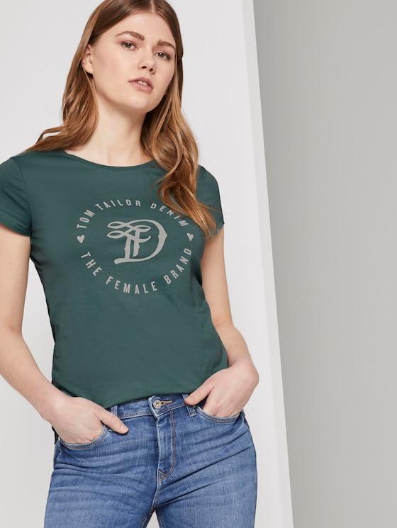 Jersey T-Shirt mit Print - Frauen - Mineral Stone Blue - 5 - TOM TAILOR Denim