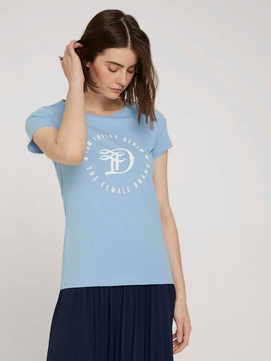 Jersey T-shirt with a print - Women - bel air blue - 5 - TOM TAILOR Denim