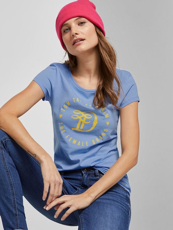 Jersey T-Shirt mit Print - Frauen - fresh light blue - 5 - TOM TAILOR Denim