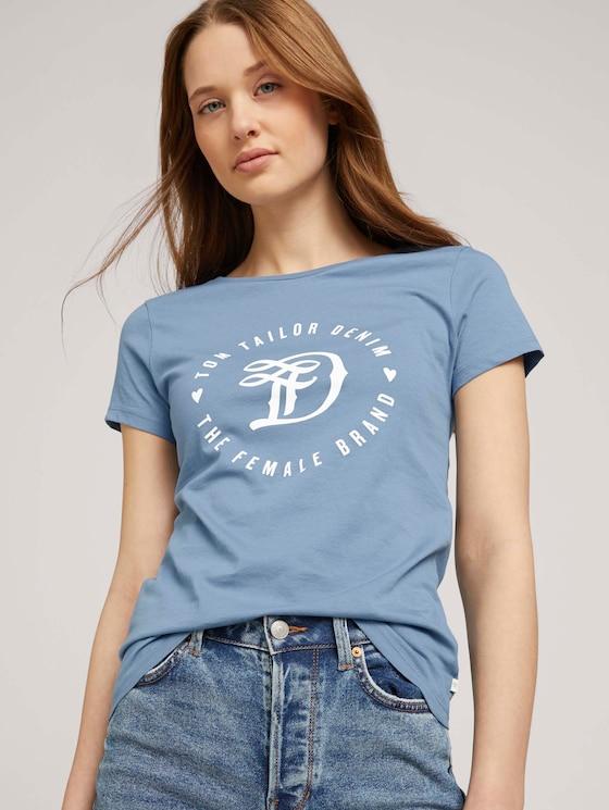 Jersey T-Shirt aus Bio-Baumwolle - Frauen - soft mid blue - 5 - TOM TAILOR Denim