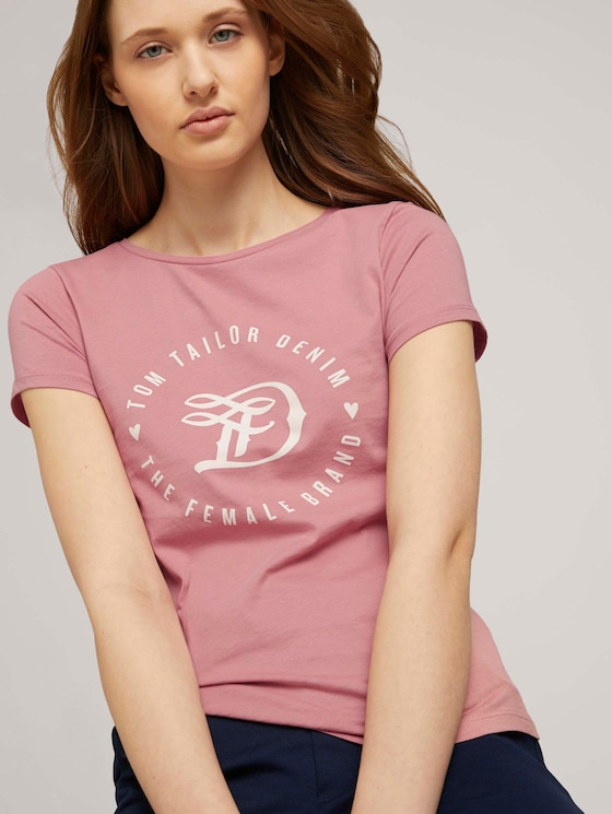 Jersey T-Shirt mit Print - Frauen - cozy rose - 5 - TOM TAILOR Denim