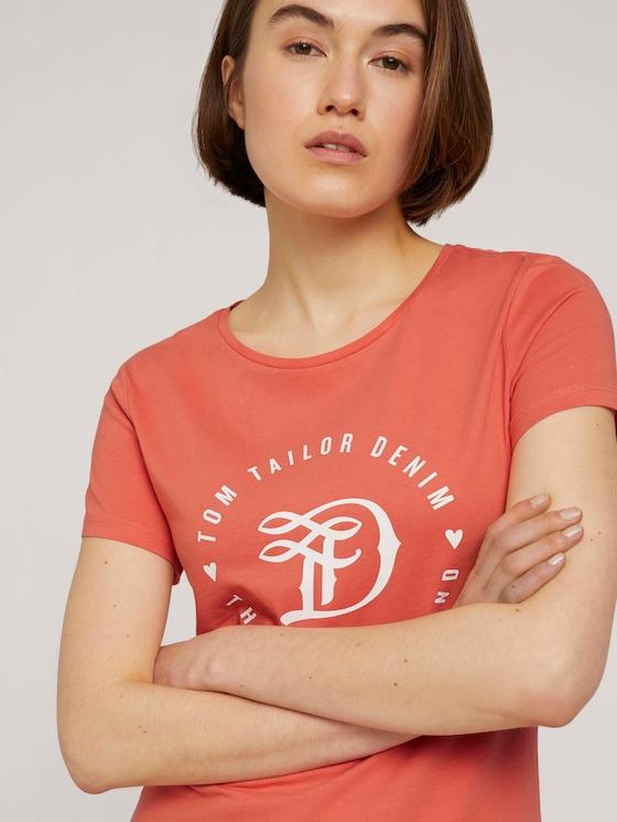 Jersey T-Shirt aus Bio-Baumwolle - Frauen - sundown coral - 5 - TOM TAILOR Denim