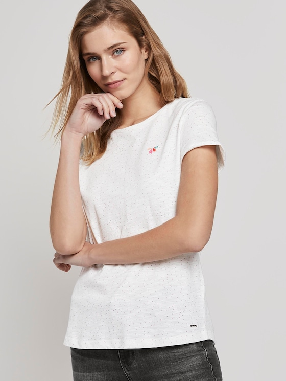 T-Shirt mit kleiner Stickerei - Frauen - light pink dots - 5 - TOM TAILOR Denim