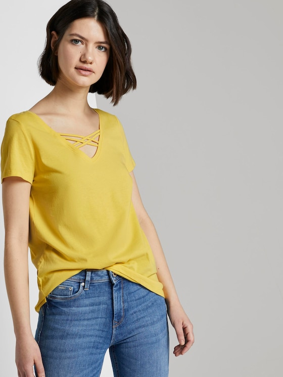 Cut-Out T-Shirt mit Bio-Baumwolle - Frauen - Golden Summer Yellow - 5 - TOM TAILOR Denim