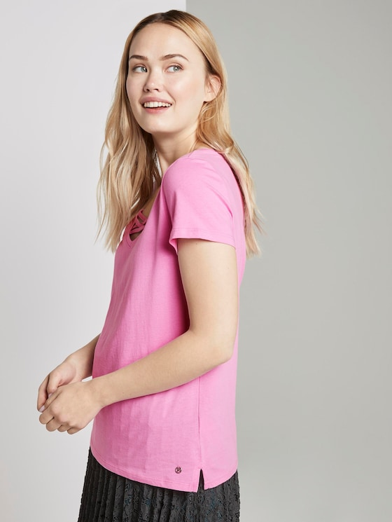 Organic T-shirt with lacing - Women - wild orchid pink - 5 - TOM TAILOR Denim