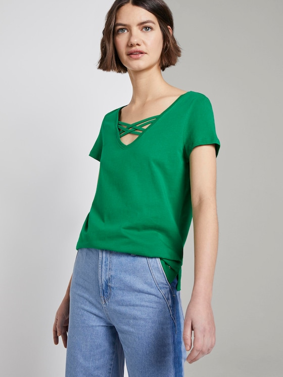 Organic T-shirt with lacing - Women - fresh bright green - 5 - TOM TAILOR Denim