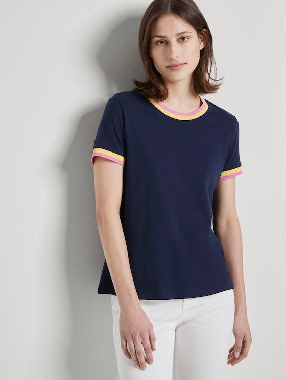 Jersey T-Shirt mit Kontrast-Details - Frauen - Real Navy Blue - 5 - TOM TAILOR Denim