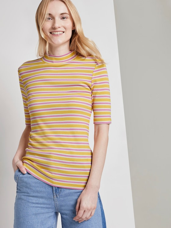 Striped T-shirt with a stand-up collar - Women - yellow pink stripe - 5 - TOM TAILOR Denim